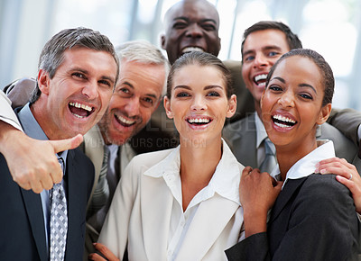 Buy stock photo Successful team of business people, laughing