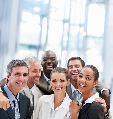 Buy stock photo Cheerful team of business people, laughing