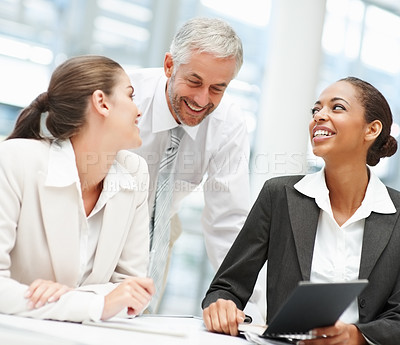 Buy stock photo Team of cheerful business people working together in the office