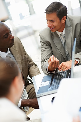 Buy stock photo Happy young an at a business meeting