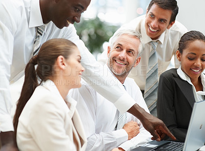 Buy stock photo Portrait of a mixed team of business people enjoying at work