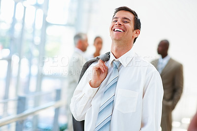 Buy stock photo Portrait of a handsome young business man, smiling