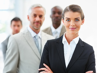 Buy stock photo Business woman with hands folded and team at the back