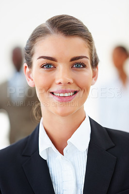Buy stock photo Closeup portrait of a cute young business woman