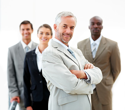 Buy stock photo Happy business man with hands folded and team at the back, on white