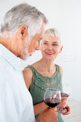 Buy stock photo Portrait of a lovely old senior couple celebrating their success together