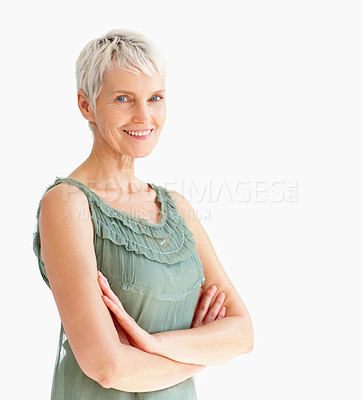 Buy stock photo Confident mature woman with hands folded on white