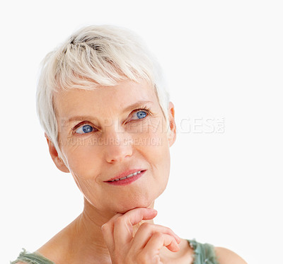 Buy stock photo Closeup of a beautiful old senior woman day dreaming