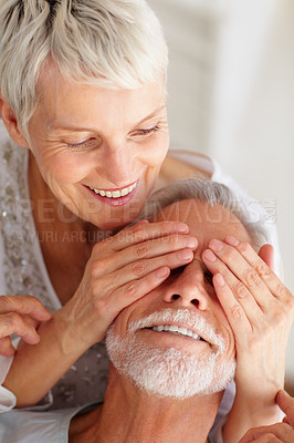 Buy stock photo Portrait of an old mature couple having a good time together