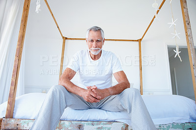 Buy stock photo Portrait of an old senior grandfather relaxing at home