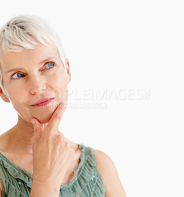 Buy stock photo Portrait of a lovely old female thinking and looking towards copyspace