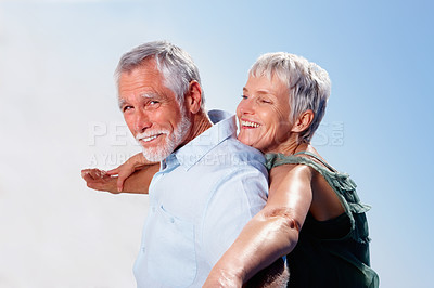 Buy stock photo Portrait of a senior couple stretching their hands together, outdoors