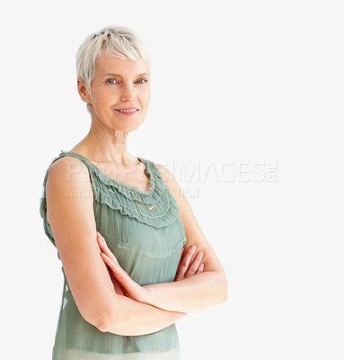 Buy stock photo Happy old woman with hands folded on white