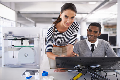 Buy stock photo Portrait of a two colleagues working on a large touchscreen monitor in an office