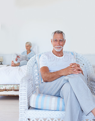 Buy stock photo A senior old retired man relaxing at home