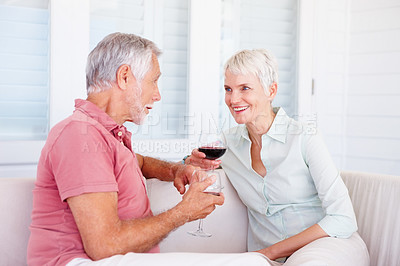 Buy stock photo Celebration: Senior couple happy about their retirement