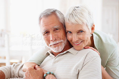 Buy stock photo Portrait of a romantic senior old couple enjoying together