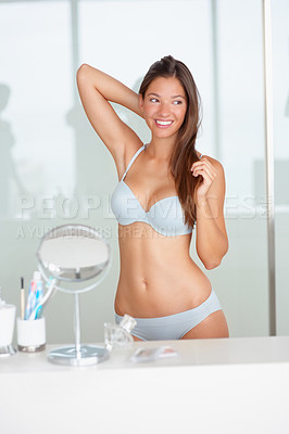 Buy stock photo Hot woman in lingerie smiling at the bathroom