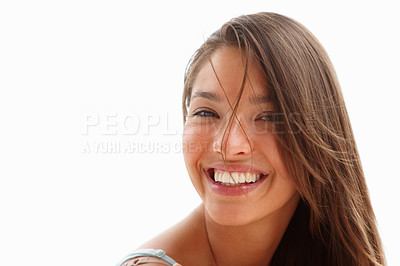 Buy stock photo Portrait of a gorgeous young woman isolated over white background