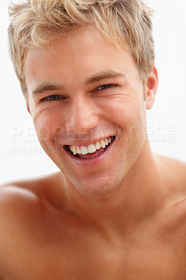 Buy stock photo Image of a cute young male isolated over white background