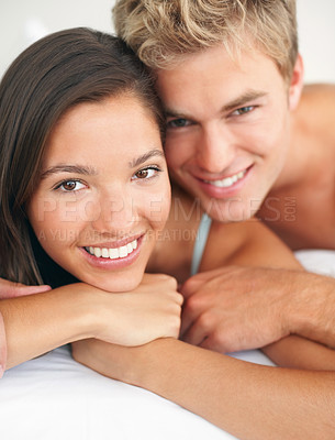 Buy stock photo Closeup of a young cute couple in love