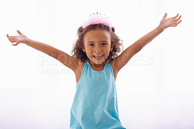 Buy stock photo Studio portrait of an adorable little girl in a tiara isolated on white
