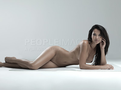 Buy stock photo Full length tudio portrait of a sexy naked woman against a gray background
