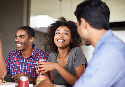 Buy stock photo Cropped shot of a group of friends enjoying a meal together