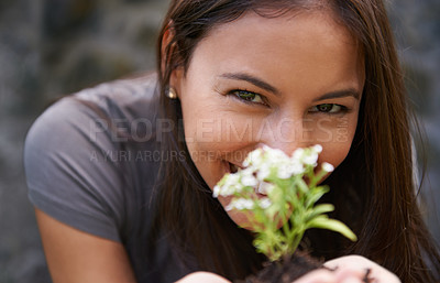 Buy stock photo Close up shot of a young woman holding up an Asylum plant