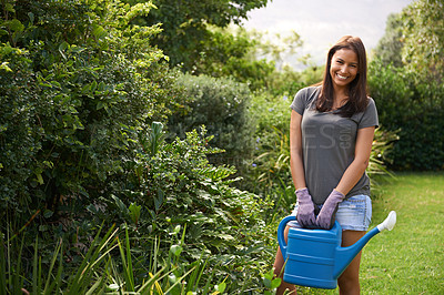 Buy stock photo Cropped shot woman watering flowers in her garden