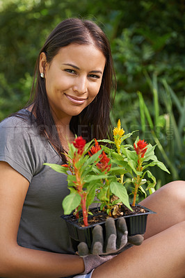 Buy stock photo A pretty woman sitting in her garden and holding a 6-pack of seedlings