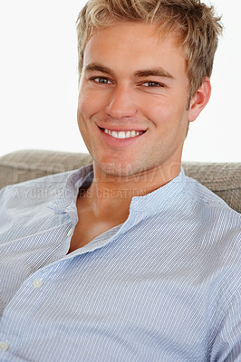 Buy stock photo Portrait of a confident smart male smiling confidently