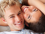 Closeup portrait of cute young couple in love
