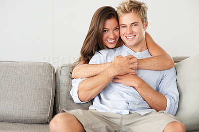 Buy stock photo Portrait of a cute young couple enjoying themselves
