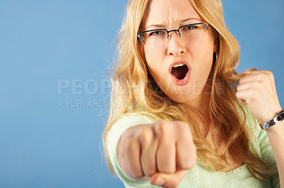 Buy stock photo I'll kick you A**!
