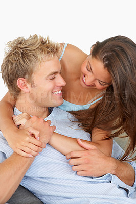 Buy stock photo Charming couple relaxing