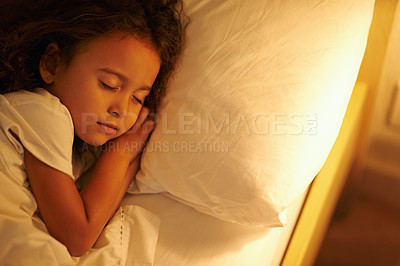 Buy stock photo A cute little girl fast asleep in a double bed