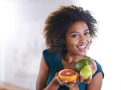 Buy stock photo Top view shot of a beautiful young woman offering you a selection of fresh produce