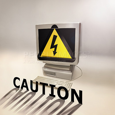 Buy stock photo Shot of a desktop computer infected with a virus
