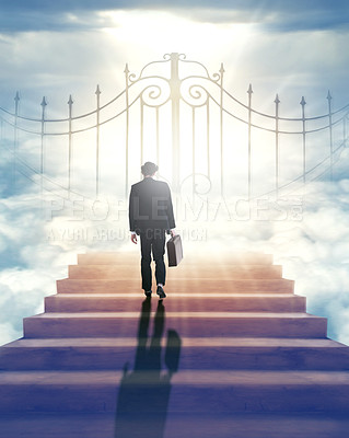 """Buy stock photo Rearview shot of a businessman standing at the """"Pearly Gates"""" of Heaven"""