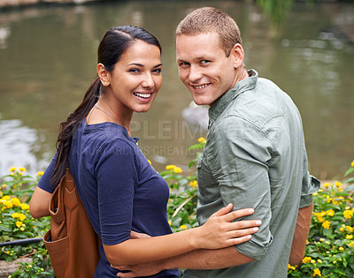 Buy stock photo Shot of an attractive young couple enjoying a date