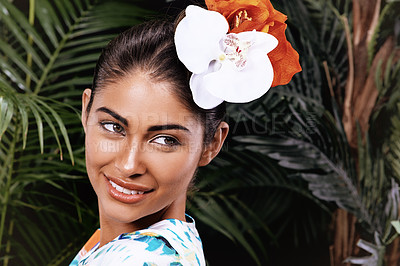 Buy stock photo A portrait of a beautiful woman wearing a floral headdress in a jungle