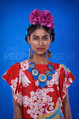 Buy stock photo A beautiful young woman wearing traditional cultural attire