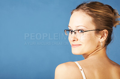 Buy stock photo Cute girl looking over her shoulder