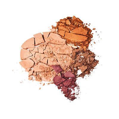 Buy stock photo Studio shot of crushed makeup against a white background