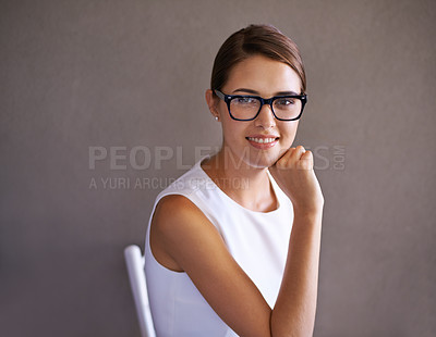 Buy stock photo Portrait of an attractive young businesswoman wearing glasses