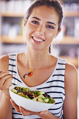 Buy stock photo Cropped shot of a beautiful young woman at home