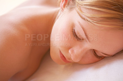 Buy stock photo Pampered young woman.