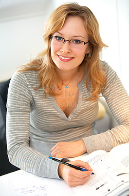 Buy stock photo Young Woman Reading and Studying.