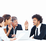 Happy business team discussing over a meeting